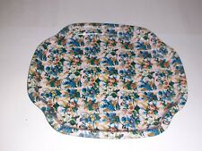 VINTAGE METAL  MINIATURE TRAY CHINTZ MEASURES 7 1/2 INCHES