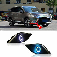 Fog Light Lamp Kit COB Angel Eye Bumper Cover Lens For Mitsubishi Outlander 16 L