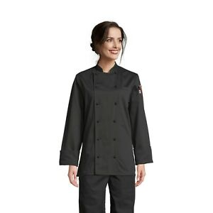 Navona women's chef coat, Black, XS to 3XL, 0470C 100% Cotton Free Shipping