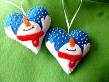 "**HAND MADE**1 X FELT ""LET IT SNOW""  SNOWMAN BLUE HEART  HANGING  DECORATION**"