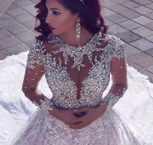 Luxury Beading  Muslim Wedding Dress Latest Long Sleeve Turke Bridal Gown