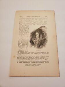 Portrait of Queen Elizabeth c. 1876 Engraving / Print