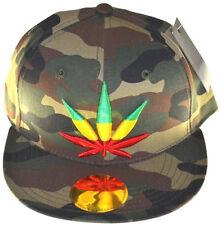 Ganja Marijuana Snapback Cap Hat-camo green rasta