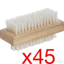 45 X WOODEN NAIL BRUSH MANICURE PEDICURE SCRUBBING CLEANING BRISTLES 9.2x4.8cm