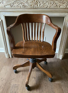Vintage Mission Oak Wood Banker Office Rolling Adjustable Arm Chair Wheels