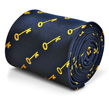 Navy Blue Mens Tie with Gold Key pattern by Frederick Thomas FT3231