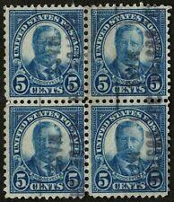 US 1927 #637 - Blue 5c Teddy Roosevelt - Block of 4 - Boston Mass Precancel Used