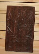 Vintage floral hand carving wood wall hanging plaque