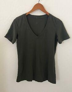 Lululemon Short Sleeve V Neck Tee Top Shirt Cotton Blend Sz 6/8 Green