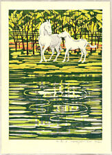 White Horses A by Fumio Fujita Original Woodblock Print Signed Limited Edition