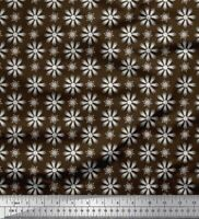 Soimoi Brown Cotton Poplin Fabric Crystals Floral Fabric Prints-QYJ