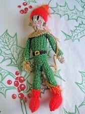 HAND KNITTED TINSEL XMAS ELF TREE DECORATION? 9 INCHES TALL