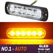 6 LED Amber Yellow Car Truck Emergency Beacon Warning Hazard Flash Strobe Lights