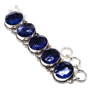 "Iolite Gemstone 925 Sterling Silver Ethnic Bracelet 7.99"" S2682"