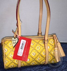 New With Tags* Authentic* Dooney & Bourke Crossword Barrel *YELLOW*Shoulder Bag