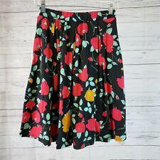 LuLaRoe Womens Madison Skirt Sz Small Black Red Rose Print Pockets