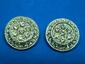 SET Sparkling PAUVE RHINESTONE Buttons in Metal- Back Mark ANN  - Well Made