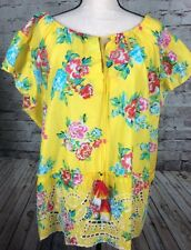 Relativity Womens Short Sleeve Yellow Floral Peasant Top Shirt Size 2X