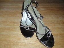 Anne Michelle: Gold Colour Diamante Heeled Peep Toe Sling Back, size: UK 7
