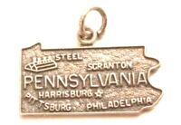 PENNSYLVANIA STATE STERLING SILVER .925 CHARM, ALL VINTAGE DETAILS.     XX