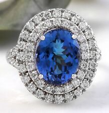 6.20 Carats NATURAL TANZANITE and DIAMOND 14K Solid White Gold Ring