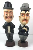 "Rare Vtg Set Laurel & Hardy 15"" Tall Wooden Figures Comic Legend Collectibles"