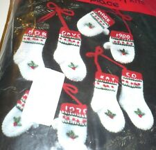 Mary Maxim 12 Mini Stocking & Mittens Christmas Holiday Ornaments Crochet Kit