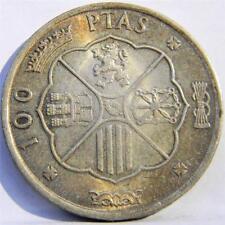 SPAIN, Franco regime: 1966/66 silver 100 Pesetas, 1st lear of issue; toned AU