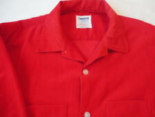Corduroy Shirt Button Up Long Sleeve Shirt , Red Men's Size ,Large Vintage