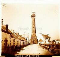 FRANCE Bretagne Finistère Le Phare d'Eckmühl ca 1910, Photo Stereo Plaque Verre