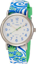Timex Women's Weekender Silver Tone Brass Reversible Floral Watch TW2P90300