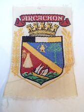 Ancien écusson / Blason - ARCACHON - Tissu brodé - VINTAGE - 5 x 7,5cm