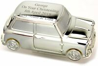 Personalised Engraved Silver Mini Car Money Box - Free Delivery