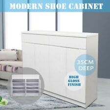 140CM High Gloss Piano Finish White Wooden Shoe Cabinet Cupboard Fits US11 Shoes