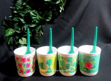 TUPPERWARE NEW COFFEE CUPS MUGS Set Of 4 TROPICAL GLAMOUR SET WITH SPOONS