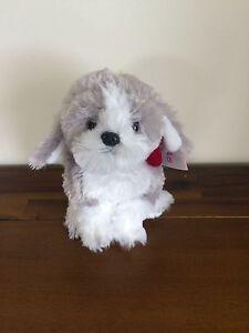 RUSS Berrie Grey & White Dog Soft Plush Toy Small/Medium Sitting