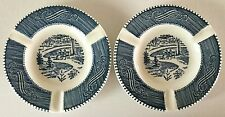 2 Vintage ROYAL China USA CURRIER & IVES Blue ASHTRAY s Central Park