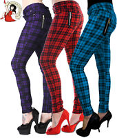 BANNED CHECK SKINNY TROUSERS JEANS punk STRETCH red alternative