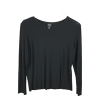 Eileen Fisher Women's Blouse Size PM Black Silk Long Sleeve Round Neck Top