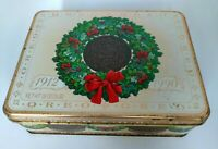 Vintage 1990 Oreo Nabisco Collectible Christmas Tin w Lid Warmest Holiday Wishes