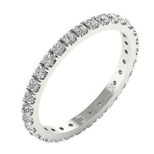 SI1 G 1.10 Ct Round Diamond Eternity Wedding Stackable Ring 14K Gold Appraisal