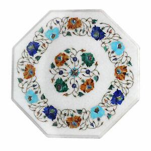 "12"" Marble Side Table Top Semi Precious Stones Inlay Handmade Home /office Decor"