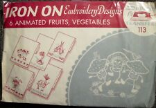 Vintage Superior Animated Fruits & Vegetables Iron Transfers for Kitchen Linens