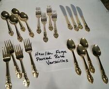 Set Of 20 Pcs. Hamilton Forge Stainless Pierced Rose Versailles Gold Flatware