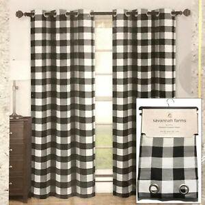 "SET OF 2 Savannah Farms Window Premium Drapery Panels Buffalo Plaid Blk Wht 84"""