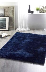 Origins Contemporary Indigo Blue Shaggy Shimmer Glamour Rug Various Sizes