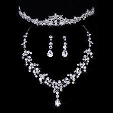 Wedding Bridal Prom Tiara Crystal Flower Leaf Crown Necklace Earring Jewelry Set