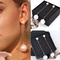 Elegant Chic White Pearl Long Dangle Earrings Gold Stud Drop Women Jewelry Gifts