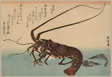Japanese Art: Hiroshige Fish: Shrimp and Lobster - Fine Art Print