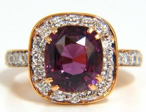 GIA 5.54CT NATURAL NO HEAT RED PURPLE SPINEL DIAMONDS RING 18KT UNHEATED+